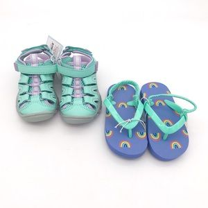 NWT! Set of 2 Cat & Jack Baby Girl Sandals 5